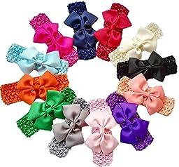 Qandsweet Baby Girl\'s Elastic Headbands Hair Bows Flower (12Pack 3.5\