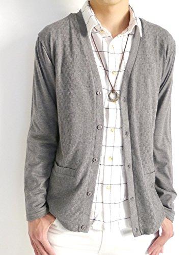 (オークランド) Oakland ジャガード Vネック カーディガン ストレッチ 羽織り セレクトショップ デザイナーズ 品質 SHOPスタッフ 秋 メンズ チャコール Mサイズ