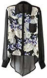 Women's Vintage Splice Floral Chiffon Blouse Long Sleeves Shirt Top Black