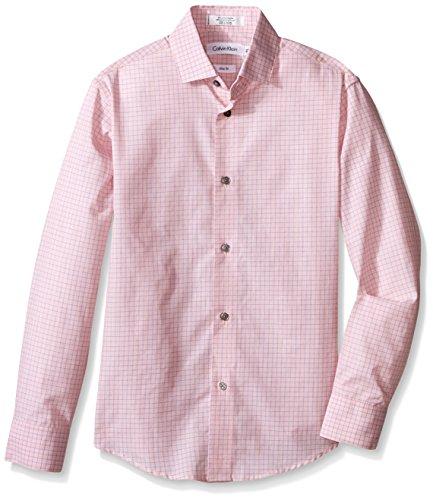 Calvin Klein Big Boys' End On End Check Long Sleeve Shirt, Coral, 20