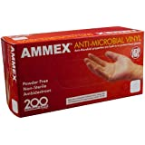 Ammex AAMV Anti-Microbial Vinyl Glove, Latex Free, Disposable, Powder Free, Large (Box of 200)