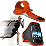 ( Orange ) Sony Ericsson Elm Sports Running Jogging Ridding Bike Cycling Gym Arm Band Case Pouch Cover By ONX3
