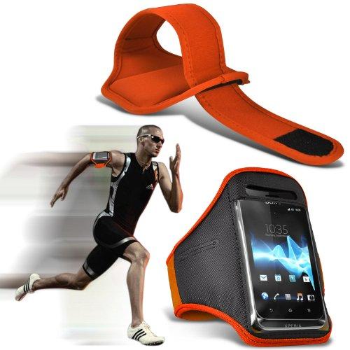 ( Orange ) Huawei Ascend P7 Universal Sports corsa Jogging Sbarazzamento Bike Cycling Gym fascia di braccio di caso della copertura del sacchetto By Spyrox