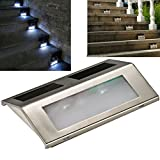 Mudder Solar Powered Stainless Steel Staircase LED Step Lights, White Light, Outdoor and Commercial Use