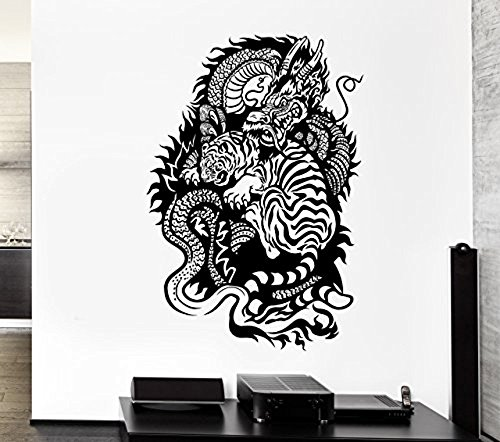 GGWW Wall Decal Dragon Tiger Fire Power China Fangs Mural Vinyl Stickers (Ed065)