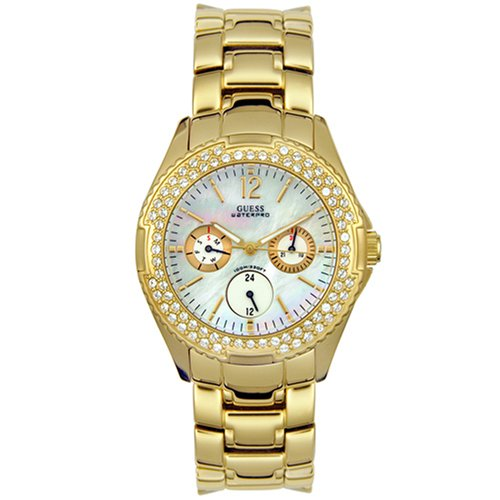 GUESS? Women's 11609L Waterpro Gold-Tone Crystal Accented Watch