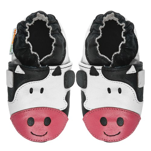 Momo Baby Infant/Toddler Cow Black/White Soft Sole Leather Shoes - 18-24 Months/6-7 M Us Toddler front-1075144