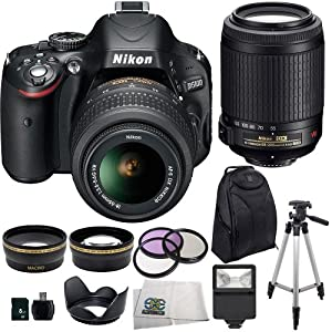 Nikon D5100 Digital SLR Camera with Nikon 18-55mm VR Lens And Nikon 55-200mm VR Lens + .43x Wide Angle Lens, 2.2x Telephoto Lens, 3 Piece Multi-Coated Filter Kit, Lens Hood, SLR Slave Flash, 8GB SD Memory Card, USB Card Reader, Backpack, Tripod and SSE Microfiber Cleaning Cloth