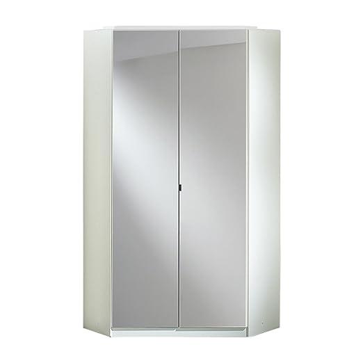 Wimex 235543 Clack Armoire d'Angle 2 Portes Bois Blanc/Laqué Noir 95 x 95 x 198 cm