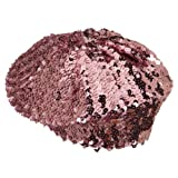 Sequin Knitted Beret - Hot Pink W09S62F