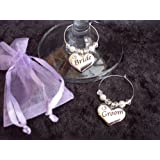 Bride & Groom Wedding Wine Glass Charms Gift Set/Presentby A Love To Cherish
