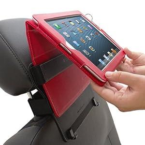 Snugg iPad 2 / 3 / 4 Car Headrest Mount - Leather Car Headrest Mount With Lifetime Guarantee (Black) For Use With Snugg iPad 2 / 3 / 4 Leather Case