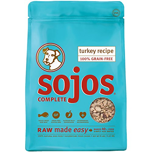 Sojos Complete Grain Free Freeze-Dried Turkey Raw Natural Dry Dog Food Mix, 8-Pound Bag
