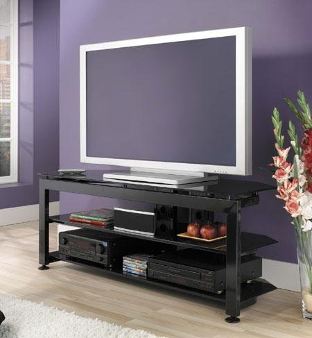 Bush Furniture Universal Large TV Stand, High Gloss Black