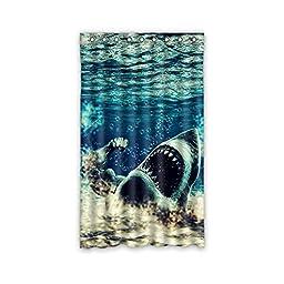 Gifts Shark Design Cute Polyester Custom Blackout Window Curtains 50\