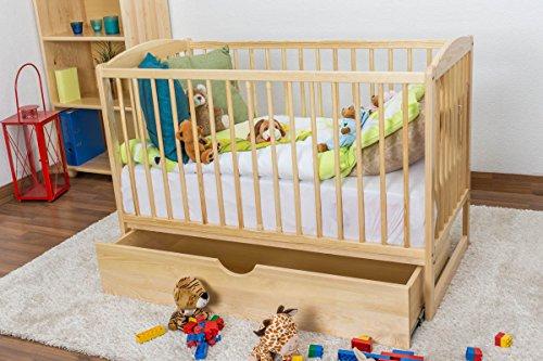 Gitterbett / Kinderbett Kiefer massiv Vollholz natur 102, inkl. Lattenrost - Abmessung 60 x 120 cm, inkl. Schublade