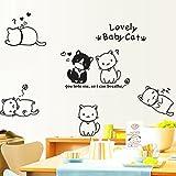 ウォールステッカー ( 猫 )( シール かわいい ネコ ねこ インテリア 壁紙 リビング 窓 冷蔵庫 ポスター ステッカー 壁シール 黒 )