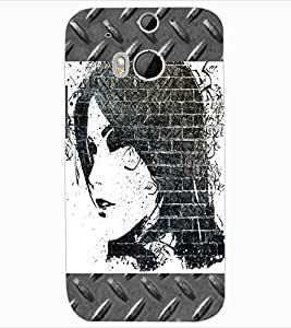 ColourCraft Beautiful Girl Drawing Design Back Case Cover for HTC ONE M8