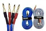 LRセット【バナナプラグ加工済】 200芯(×2) スピーカー ケーブル 完成品ハンダ済み 青 2本1組セット (1.5m)