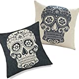Set Of 2 Retro Black & White Floral Skull Decorative Throw Pillow Cotton Linen Cover Cushion Case Christmas Gifts