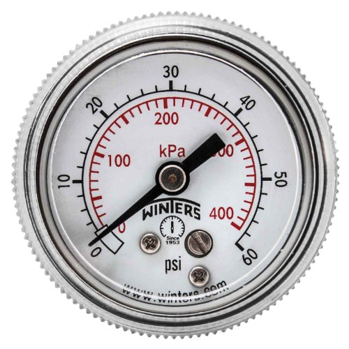 Winters P9S 90 Series Steel Dual Scale Pressure Gauge with Removable Lens, 0-60 psi/kpa, 1-1/2 Dial Display, +/-2-1-2% Accuracy, 1/8 NPT Center Back Mount car tire pressure gauge tire pressure gauge with gas air pressure gauge for car fit for motorcycle bicycle type measure meter
