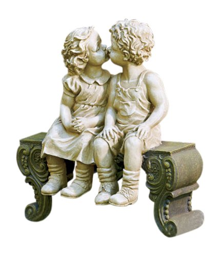 Kissing Boy & Girl on Bench Detailed Garden Ceramic Garden Yard Statue Art 15