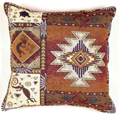 Kokopelli Southwestern Decorative Tapestry Toss Pillow Usa Made front-960773