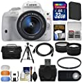 Canon EOS Rebel SL1 Digital SLR Camera & EF-S 18-55mm IS STM Lens (White) with 32GB Card + Case + Battery + Tripod + Tele/Wide Lens Kit