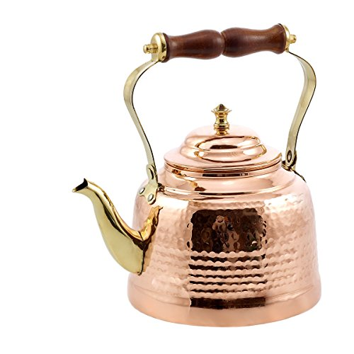 Old Dutch Hammered Tea Kettle with Brass Spout and Knob and Wooden Handle, 2 qt., Copper (Copper Tea Kettle compare prices)