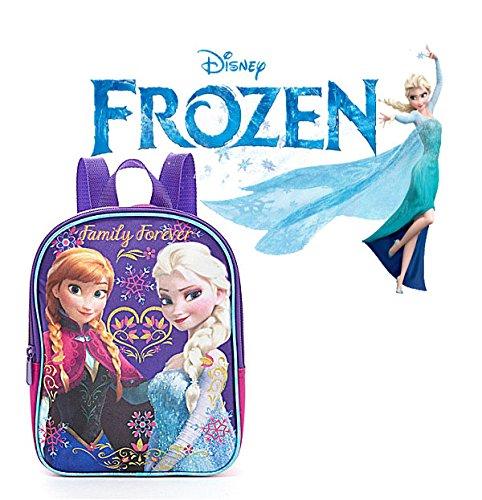 """Disney Frozen Anna & Elsa """"Family Forever"""" Purple Girls 10"""" Mini Toddlers Backpack front-812926"""
