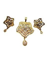Poddar Jewels Cubic Zirconia Stylish Golden Pendant Set