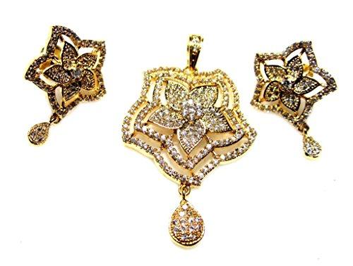 Poddar Jewels Cubic Zirconia Stylish Golden Pendant Set