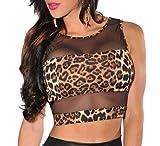 Sexy Basic Hollow Out Back Leopard Print Mesh Insert Crop Sleeveless Short Top (US M, Leopard) Reviews