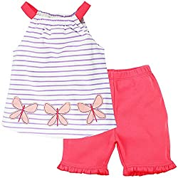 Butterfly Patch On Sleeveless Top With Frills Pant , Pink (Newborn)