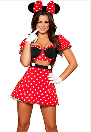 RANOGI Women's Miss Mouse Halloween Costume Cosplay,Red,One size