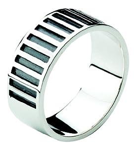 Dew Sterling Silver Men's Stripe Ring 28079OX004 - Size V