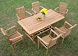 """New 7 Pc Luxurious Grade-A Teak Dining Set - 71"""" Mas Rectangle Table (Trestle Legs) And 6 Mas Stacking Arm Chairs #WHDSMS7"""