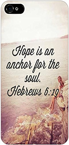 Hope Is An Anchor For The Soul Hebrews 6:19 Christian Quote Bible Verses Print Pattern Theme Protective Cover Sleeve Case For Apple Iphone 5 5S 5G front-916119