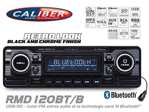 Caliber-RMD120BTB-Retrodesign-Autoradio-mit-Bluetooth-Freisprechanlage-SD-Kartenslott-USB-Anschluss-schwarz