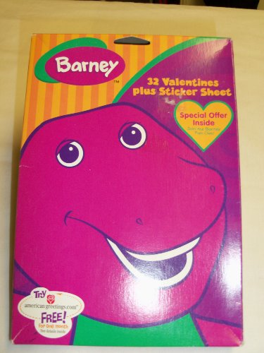 Barney Valentines (32) with Stickers