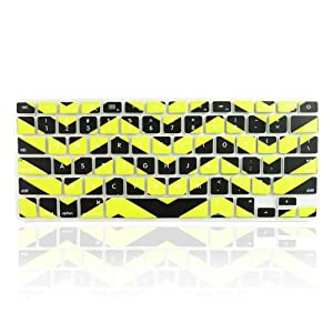 "TopCase Chevron Zig - Zag Silicone Keyboard Cover Skin for Macbook 13"" Unibody / Macbook Pro 13"" 15"" 17"" with or Without Retina Display / New Macbook Air 13"" / Wireless Keyboard + TopCase Mouse Pad (Black n Yellow)"