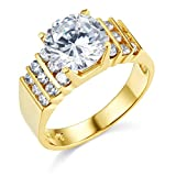 Wellingsale® Ladies Solid 14k Yellow Gold Polished CZ Cubic Zirconia Round Cut Wedding Engagement Ring with Side Stones, AAA Grade Highest Quality - Size 9