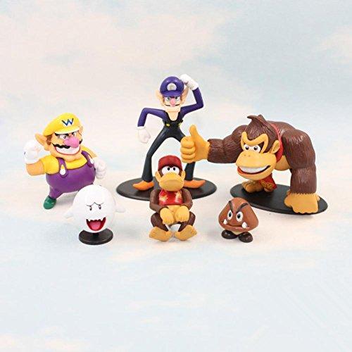 [Rosy Women Super Mario Bros Waluiji Donkey Kong Wario Mushroom Pvc Action Figure Toys Dolls Set Of 6] (Donkey Kong Costume For Women)