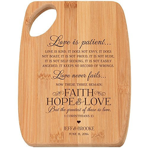 Personalized Bamboo Cutting Board Customized Love Is Patient.. Love Is Kind... Faith Hope Love