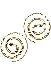 Chic-Net spirals earrings snake round brass Brass antique gold nickel free jewelry Piercing Tribal