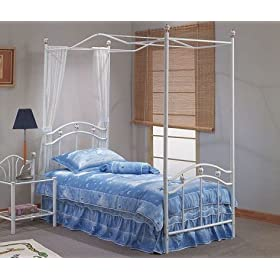 White Metal Canopy Twin Size Bed Rails Set