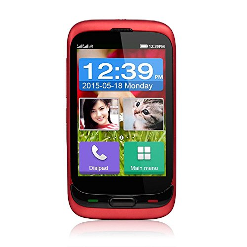 DaXian DX528 3,5 Zoll Seniorenhandy Notrufhandy Handy ohne Vertrag Touchscreen mit SOS Taste 128MB Speicher unterstützt 2GB Dual SIM 1,3MP Kamera Bluetooth3.0 FM Radio GPS Taschenlampe mit MEMTEQ® Putztuch bestes Gedchenk für Vater und Mutter Rot