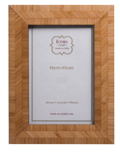 Eccolo Made in Italy Marquetry Wood Frame, Multigrain Bamboo, Holds an 8 x 10-Inch Photo