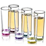 JoyJolt Colored Shot glass Set, 6 Piece shot Glasses