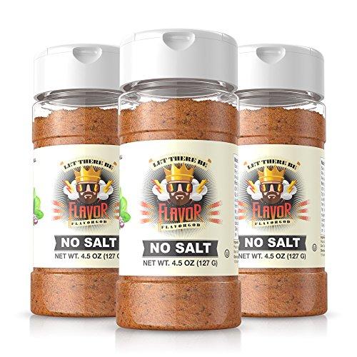 #1 Best-Selling 5Oz. Flavor God Seasonings - Gluten Free, Low Sodium, Paleo, Vegan, No Msg (No Salt Seasoning, 3 Bottles)